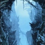 Concept art painting of adventurers traversing a crevasse from Peter Jackson&#039;s King Kong
