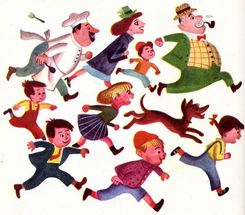 illustration from a children's book of several people and a dog running