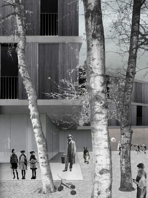 architectural rendering of a building's courtyard