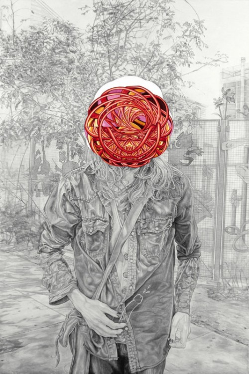 pencil drawing of a man in a leather jacket standing in a street with a surreal red shape over his face