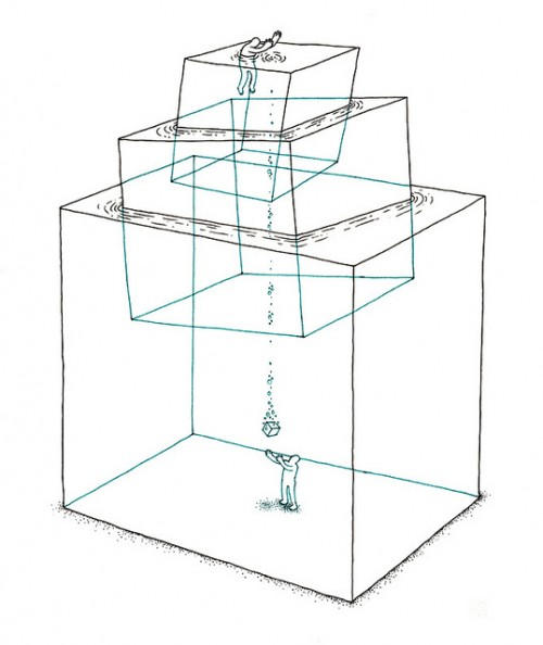 surreal illustration of two men caught in liquid cubes