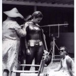 behind the scenes picture of a Batgirl stunt double on the 1960s Batman TV show