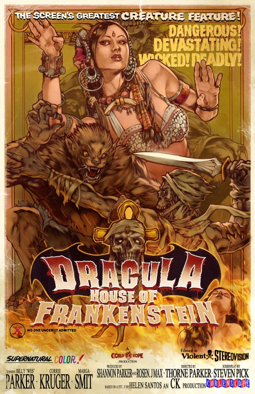 illustrated horror movie poster for dracula house of frankenstein