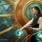 digital painting of a steampunk fantasy submarine captain and a sea monster
