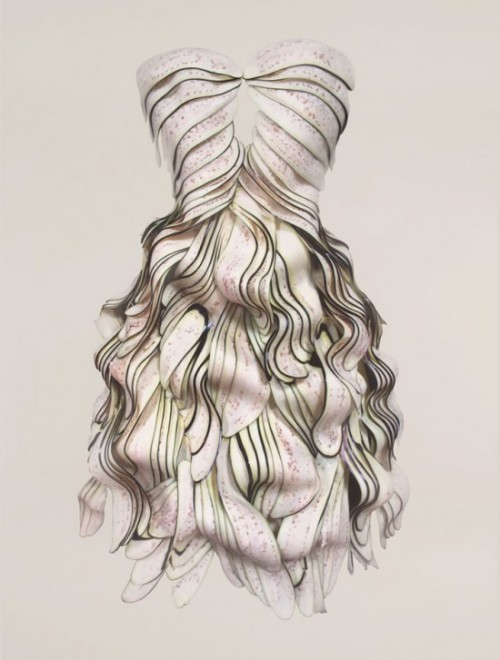 dress made of slices of eggplant