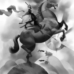 black &amp; white digital painting of a samurai on horseback