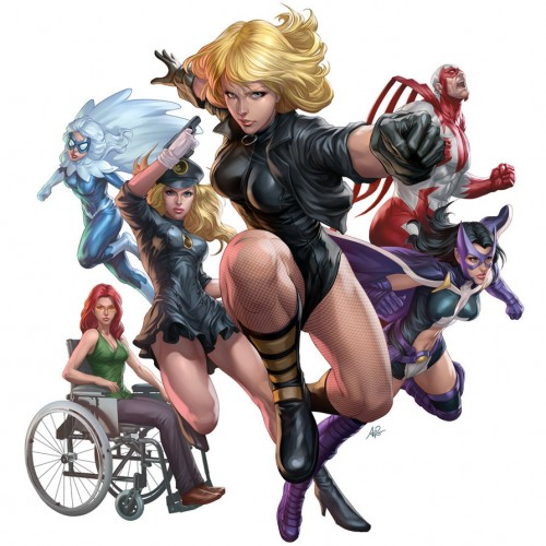 Cover of Birds of Prey comic, featuring Black Widow, Huntress, Oracle, Hawk & Dove