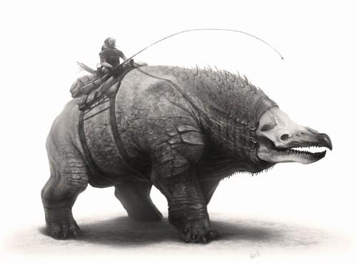 digital painting of a fantasy beast of burden