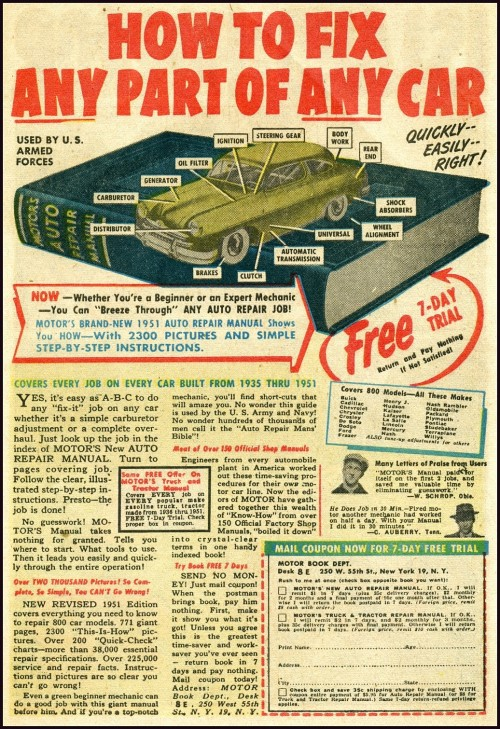 Advertisement from an old comic book for learning how to repair a car