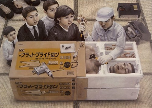 Surreal painting of people opening a large box with parts of a man in it
