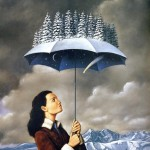Winter umbrella by Rafal Olbinski