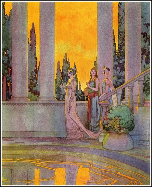 story book painting of 3 princeses by Frank Godwin