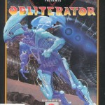 scifi illustration box cover of the game obliterator