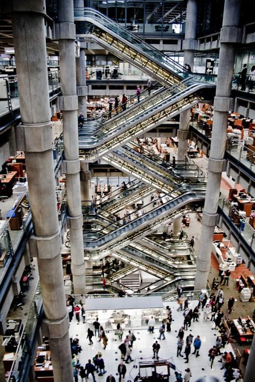 interior of the lloyd's of london building central atrium