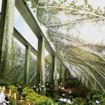 architectural concept rendering of a park under a freeway bridge