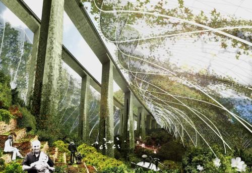 architectural concept rendering of a park under a freeway bridge