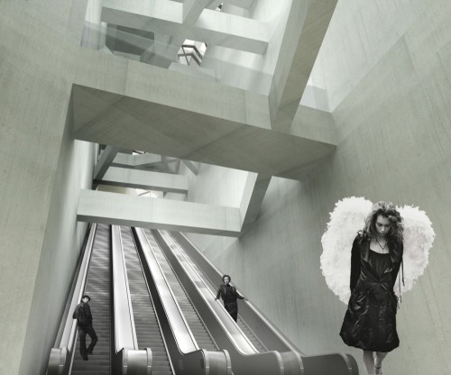 architectural rendering with escalator and black & white photo people