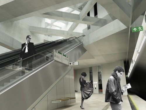 architectural rendering with black & white people