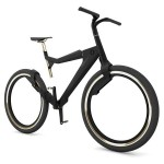 futuristic bicycle design featuring spokeless wheels