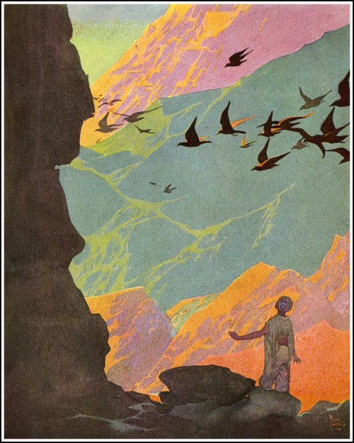 story book painting of a man looking at a flock of birds flying over mountains