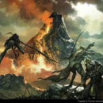 fantasy illustration of adventurers fighting off a bird in front of a volcano