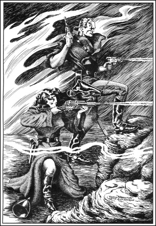 black & white ink drawing of Flash Gordon and Dale Arden shooting rayguns
