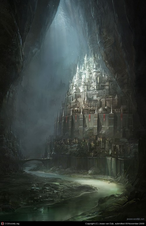 digital painting of an underground fantasy city