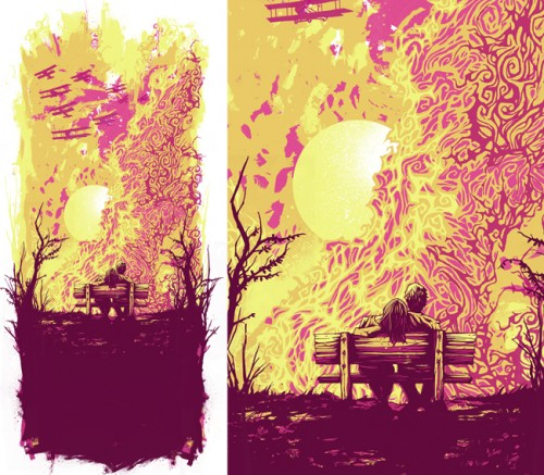 vector illustration of a couple sitting on a bench at sunset