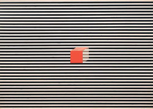 abstract graphic illustration of a red box on a striped background