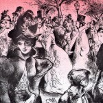 pencil illustration of a crowd of victorian era people in a street