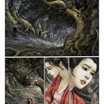 comic featuring a woman ina kimono in a dark forest