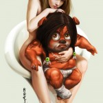 illustration of a nude woman sitting with a cute monster in a diaper