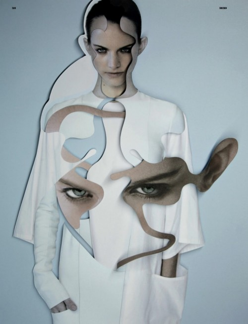 photomanipulation of fashion model with abstract cutout shapes