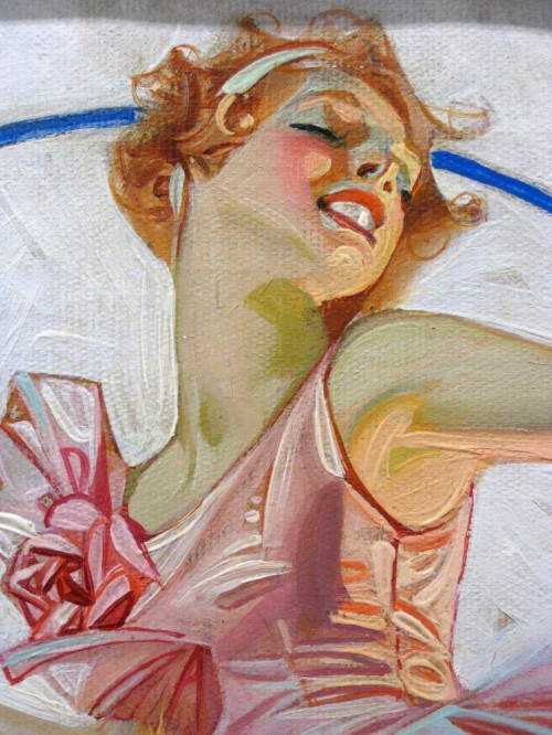 extreme close up of a circus horse acrobat from a Leyendecker painting