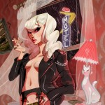 illustration of a blonde woman in a leather jacket smoking a cigarette