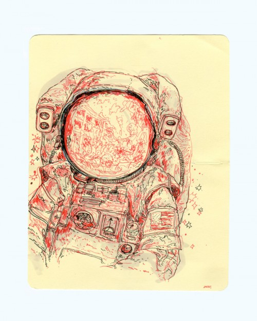 pen & ink illustration of an astronaut