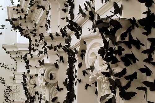 art installation of black paper butterflies on a white building