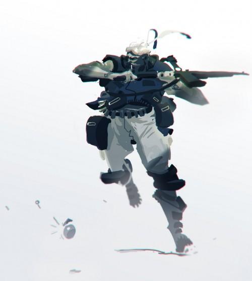 digital sketch of a soldier running with a gun