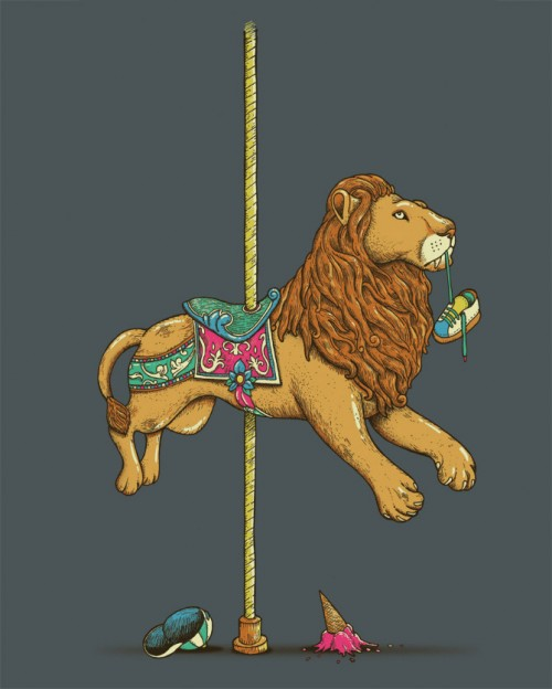 surreal illustration of a merry-go-round lion