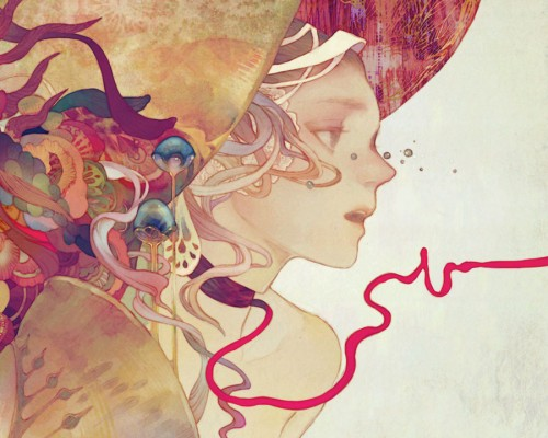 surreal illustration of a woman with ribbons of flesh, and mushrooms