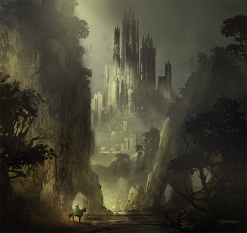 digital painting of a gloomy castle in a valley, and a man on horseback