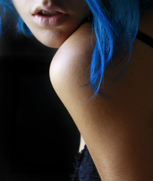 photograph of a girl with blue hair