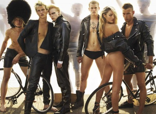 Candice Swanepoel in Copenhagen with bicycles