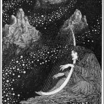 black &amp; white illustration by sindey sime of a man in a starfield playing a harp