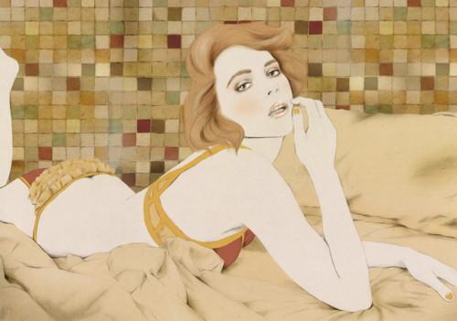illustration of a woman on a bed before a tiled wall