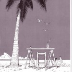 black & white illustration by jean mobius giraud featurng a palm tree ad a beach