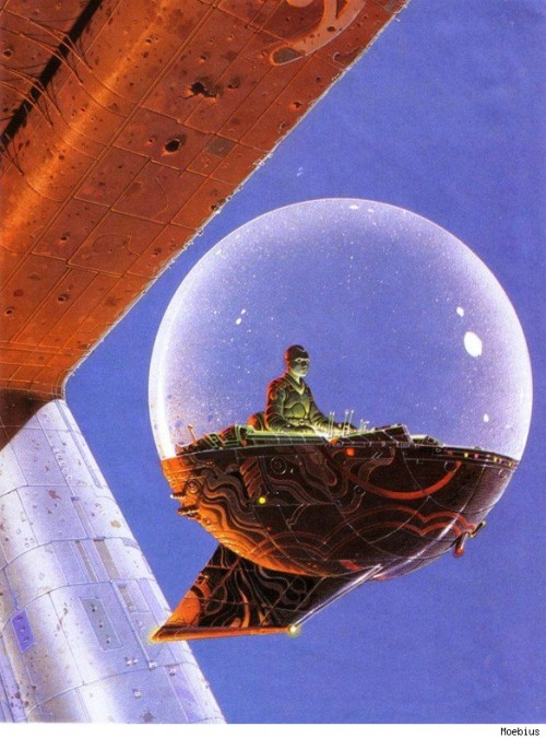 illustration by moebius of a man meditating in a bubble