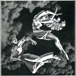 black &amp; white illustration of two figures flying through clouds