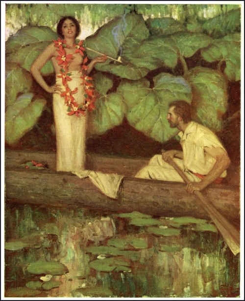 story illustration of a polynesian woman in a canoe with a man rowing