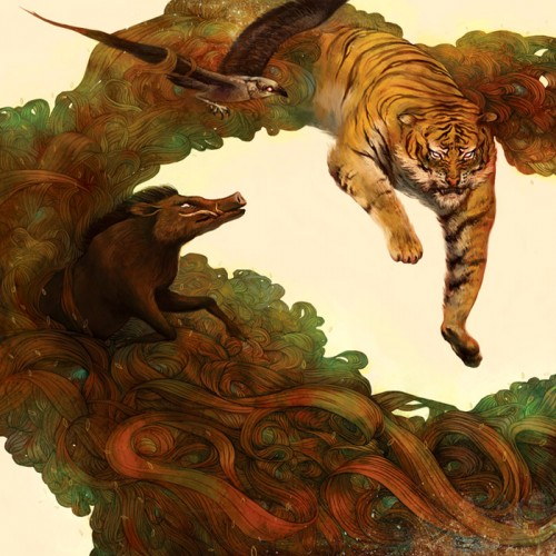painting of several animals including a leaping tiger